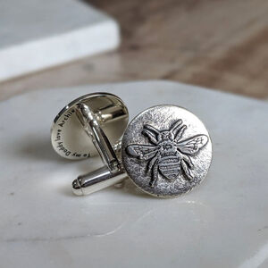 Personalised Silver Bee Cufflinks