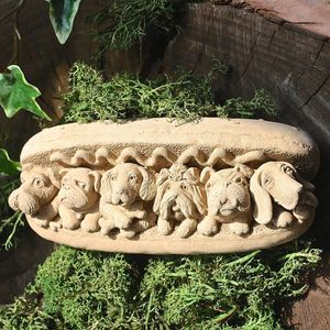 Garden Wall Art Stone Hog Dog - sculptures