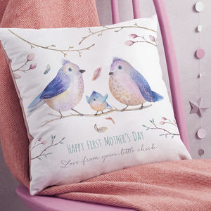 Personalised First Mother's Day Bird Family Cushion