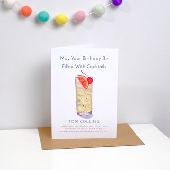 Cocktail Birthday Card Tom Collins