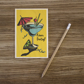 Cheers Darling! Wooden Postcard By Timbergram