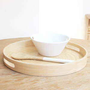 Natural Coiled Bamboo Serving Tray - tableware