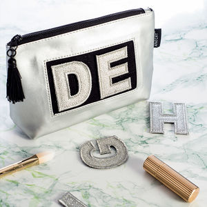Personalised Silver Makeup Bag - stocking fillers