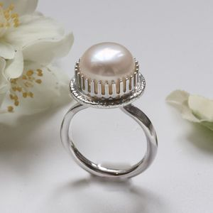 White Pearl Cocktail Ring, Silver Big Pearl Ring