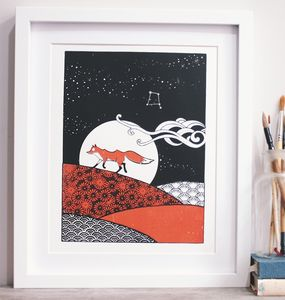 Little Red Fox A4 Personalised Screenprint