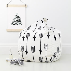 Children's Monochrome Bean Bag Arrows - furniture