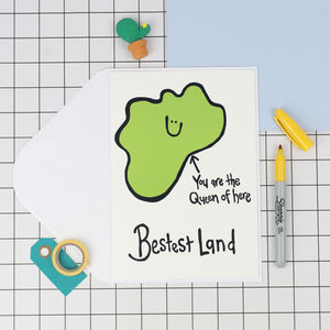'Queen Of Bestest Land' Mothers Day Card - funny cards