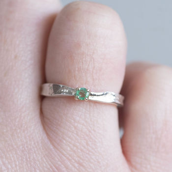 Emerald Textured May Birthstone Ring