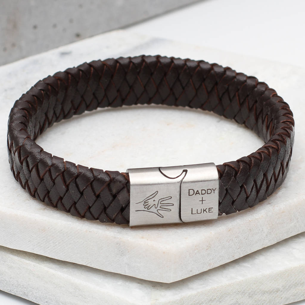 bb543ad8b2eb1 Hand In Hand Personalised Men's Leather Bracelet