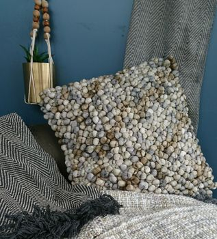 Taupe And Grey Bobble Cushion