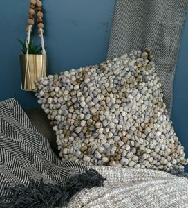 Taupe And Grey Bobble Cushion - new in home