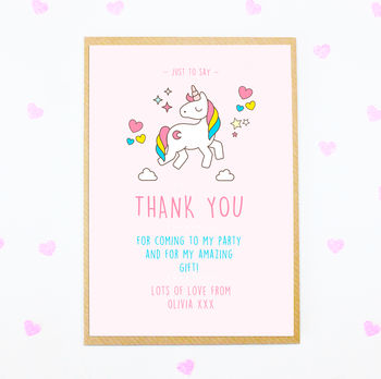 Personalised Unicorn Party Thank You Postcards