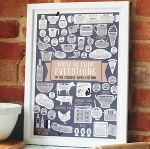 A3 Personalised Kitchen Print How To Cook Everything - posters & prints