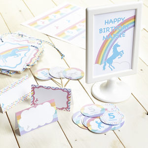 Unicorn Personalised Children's Party Decoration Pack