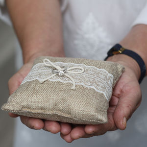 Hessian Lace Wedding Ring Cushion Small - wedding ring pillows