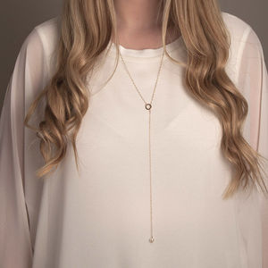 Gold Or Silver Pearl Lariat Necklace