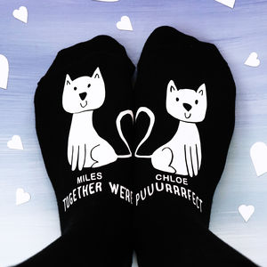 Personalised Heart Cat Socks - gifts for him