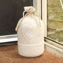 Personalised Bonheur Heart Cream Sack Fabric Doorstop