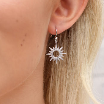 Sterling Silver And Semi Precious Crystal Sun Earrings