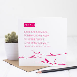 Friend Card With Friendship Poem - thank you cards
