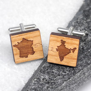 Personalised Our Journey Wooden Cufflinks - men's accessories