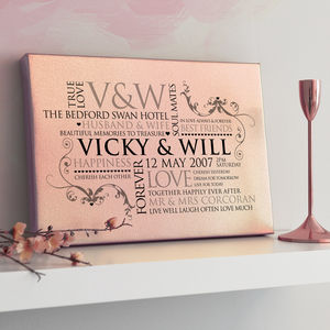 Personalised Metallic Rose Gold Couples Word Art - family & home