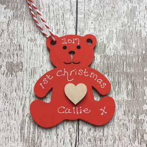 1st Christmas Teddy Personalised Decoration - tree decorations