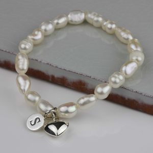 Personalised Children's Pearl And Heart Bracelet - bracelets