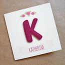 Personalised Felt Letter Floral Birthday Card For Her