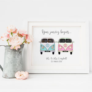 Retro Camper Vans Personalised Wedding Print - by recipient