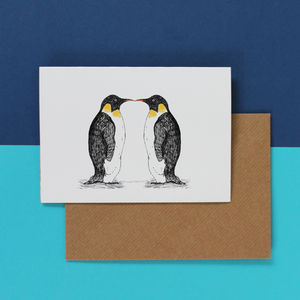 Penguin Love Wedding Or Anniversary Card - christmas cards