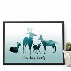 Personalised Deer Family Print - family & home