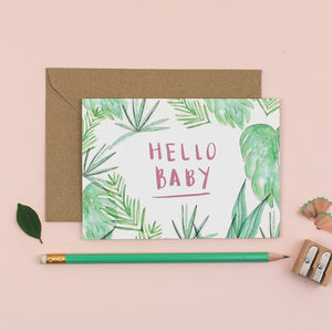 'Hello Baby' Botanical New Baby Card