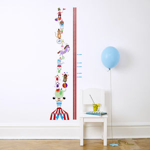 Personalised Circus Height Chart Wall Stickers - children's room