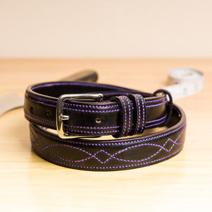 Vibe5 Design Raised Handstitched English Leather Belt - belts