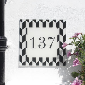 Personalised House Number Sign, Geometric Arrow