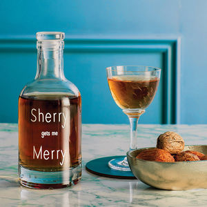 'Sherry Gets Me Merry' Festive Christmas Decanter - gifts for her