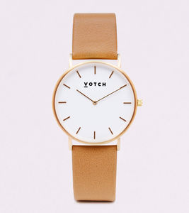 Classic Gold Vegan Leather Watch - watches