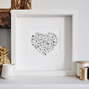 Framed Heart Flower Print