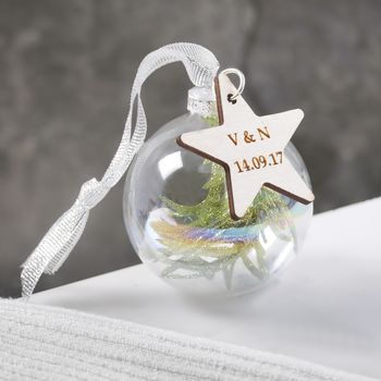 Personalised Couples Pine Bauble