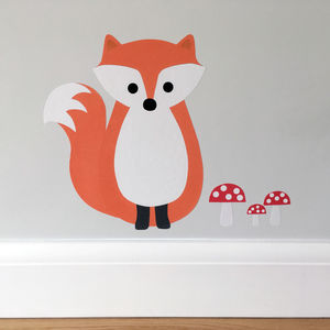 Fox Wall Sticker With Toadstools - home decorating