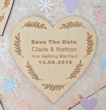 Personalised Save The Date Heart Magnet