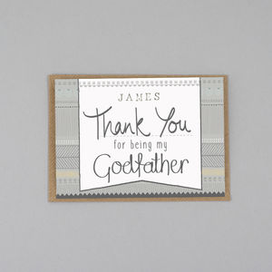 Thank You For Being My Godfather Card Personalised - thank you cards
