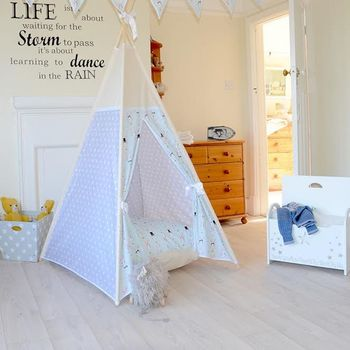 Minty Bunny And Grey Star Teepee Tent