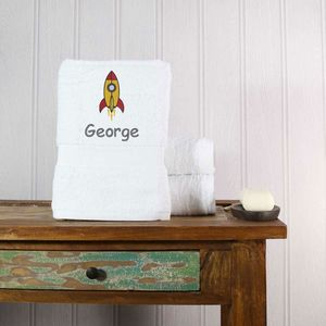 Children's Personalised Rocket Bath Towel - bed, bath & table linen