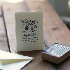 Personalised Wedding Save The Date Rubber Stamp