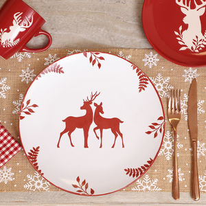 Winter Stag Stoneware Dinner Plates