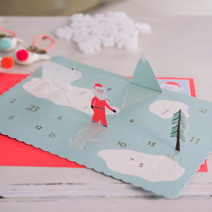 Pop Up Advent Calendar Christmas Card - advent calendars