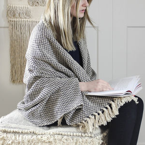 Black And Cream Woven Cotton Throw - blankets & throws