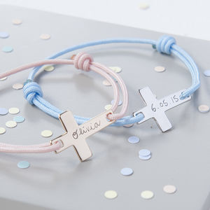 Personalised Small Flat Cross Bracelet - children's jewellery